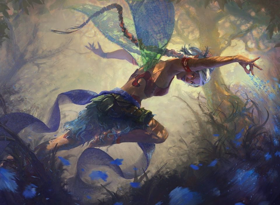 digital illustration by Ben Hill. Female fairy looking from below outstretched arms as she leaps toward magical forrest
